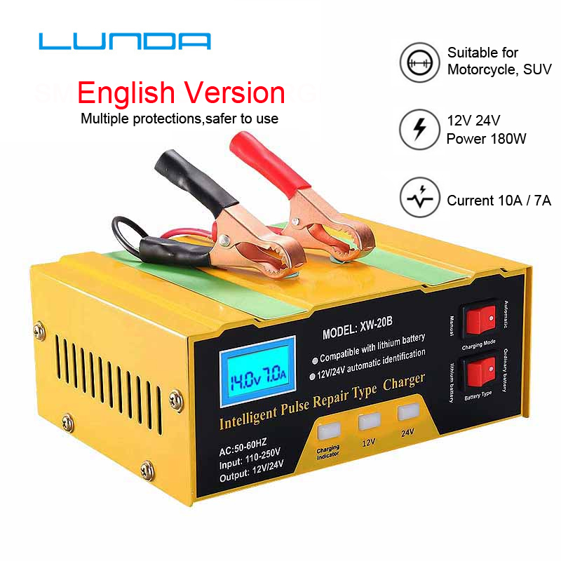 Car <font><b>Battery</b></font> <font><b>Charger</b></font> Automatic Intelligent Pulse Pure Copper Repair 110V-250V <font><b>12V</b></font> 6A With Adapter image