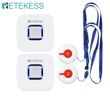 Retekess Wireless Caregiver Pager Nurse Calling Alert Patient Help System for Home Care/Alert System Call Button/Receiver