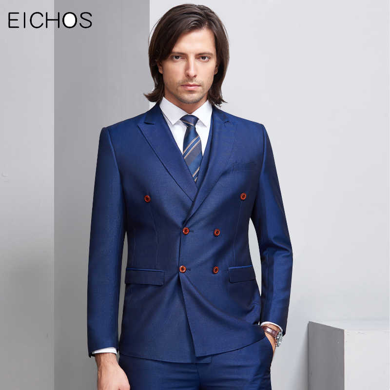 Brand Suits For Men Double Breasted Business Office Formal Suit Male 3 Pieces Slim Black Blue Party Wedding Suit Groom Costume