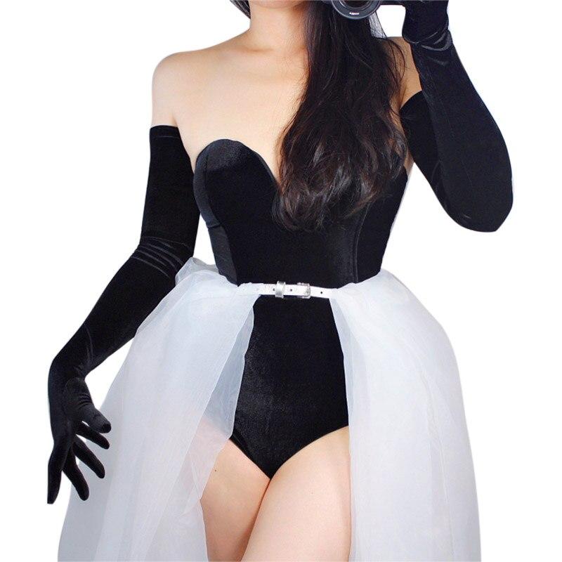 On Sale VELVET GLOVES Female Extra Long Elastic Stretchy Velours Flannel Black 70cm 28