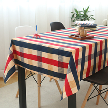 Simanfei Table Cloth Plaid Cotton Linen Tablecolth Literary European Style Coffee Mat Rectangle Decorative Tablecloths