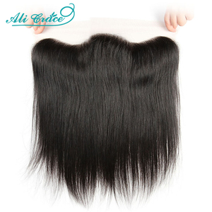 Ali Grace Brazilian Straight 13x4 Lace Frontal Medium Brown Lace Free/Middle Part Frontal 130% Density Remy Hair(China)