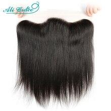 Ali graça brasileira em linha reta 13x4 rendas frontal médio marrom laço livre/parte do meio frontal 130% densidade do cabelo remy hd frente laço