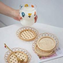 Estilo japonês bambu tecido pires artesanal de bambu coaster copo titular pote almofada chá esteira rattan tecido copo titular coaster