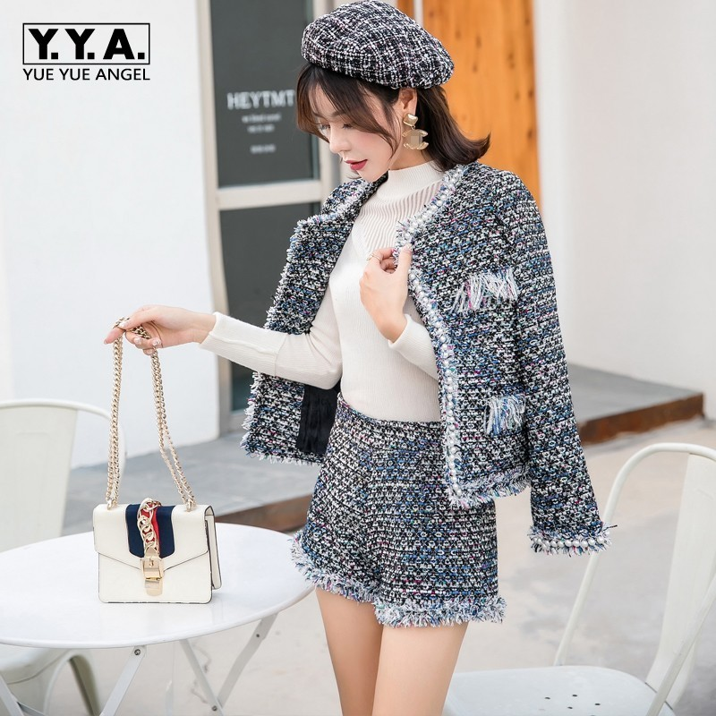 Brand New Women 2pcs Set Tweed Jacket Pearls Office Ladies Slim Fit Twill Outfits Suit Hot Shorts Tassels Business Work Suits