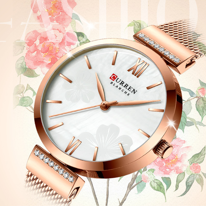 CURREN Atches For Women Top Brand Luxury Ladies Watch Stainless Steel Simple Girl Clock Blue Quartz Wristwatch Reloj Mujer