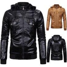 Мужская кожаная одежда плюс бархатное теплое кожаное пальто классическое искусственная овечья кожа с капюшоном кожаное пальто