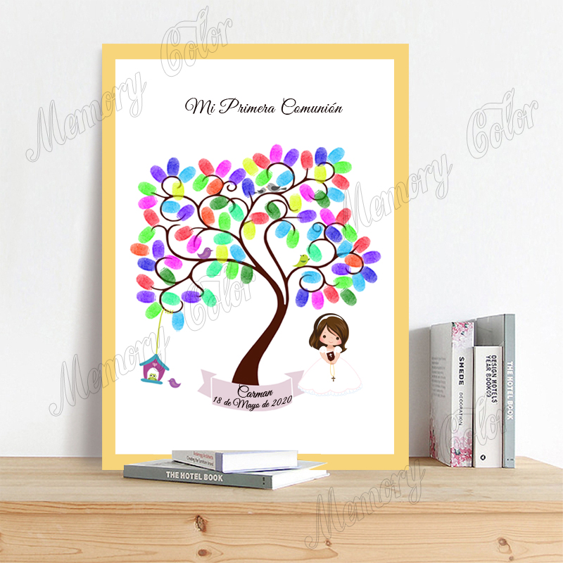 Personalized Mi Primera Comunion Fingerprint DIY Guestbook Boys Girls First Communion Souvenir Party Decoration Ink Pad Included