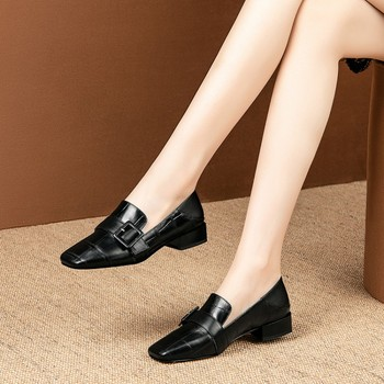 MLJUESE 2020 women pumps Cow leather autumn spring black color square toe slip on high heels party dress size 34-42