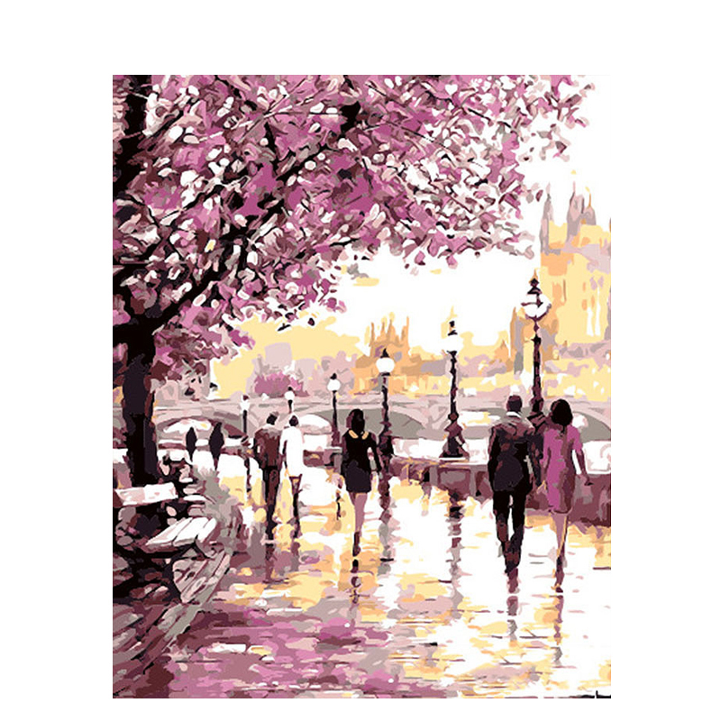 Cherry Blossoms Road Art Picture DIY Paintings By Numbers Coloring By Number Drawing Canvas Hand Painted Oil Painting Home Decor