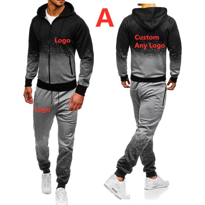 A For Men's Autumn Spring Sporting Suit Sweatshirt Sweatpants Brand Car Logo Print Mens Zipper Hoodies Pants Slim Tracksuit