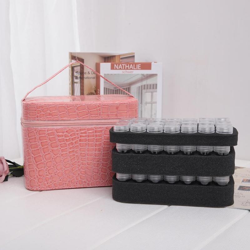 84 Bottles PU Leather Diamond Painting Charms Rhinestones Tool Storage Bag Case Organizer Beads Diamond Embroidery Storage Box