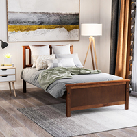 Modern Style Wood Platform Bed with Headboard,Footboard and Wood Slat Support Durable Kids Bed Frame Bedroom Furniture Overseas