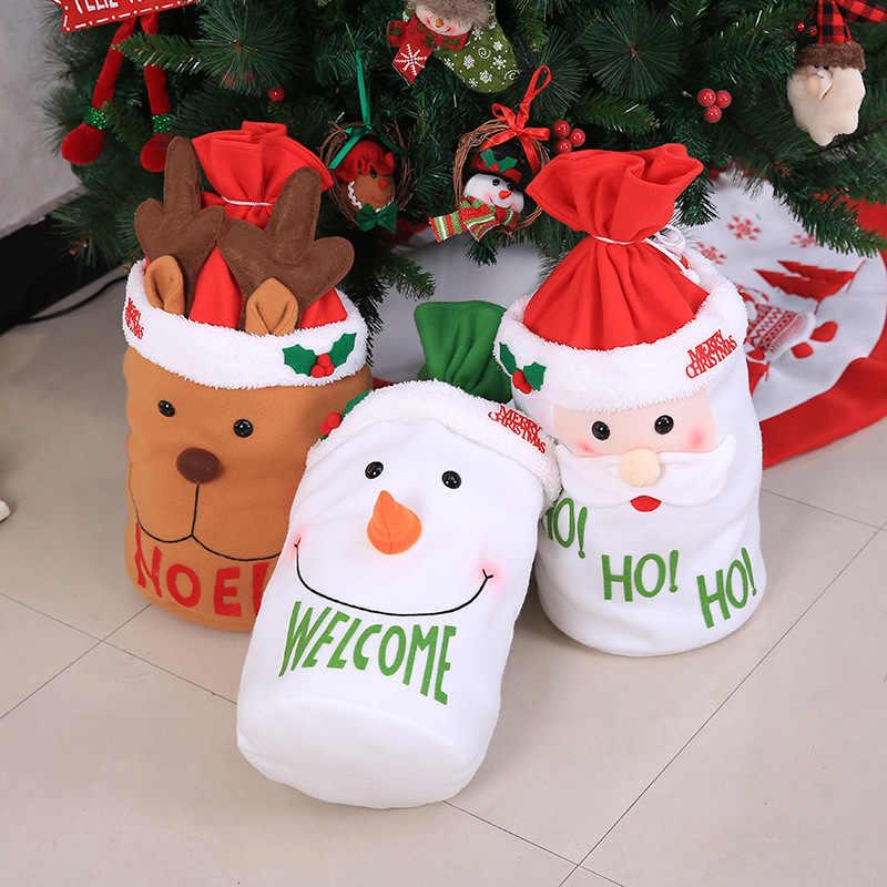 Wykwintne dekoracja świąteczna Santa duży worek pończochy wielki prezent torby boże narodzenie Santa Claus prezenty bożonarodzeniowe Navidad torby 36x35cm