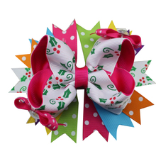 5 inch Colorful Hair Bows for Christmas Holidays Boutique Clip Girls Kids Teens Senior