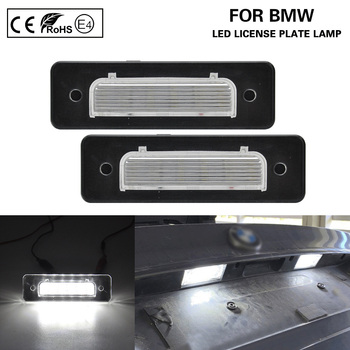 2Pcs For BMW E30 E12 E28 E24 E23 E26 Z1 Error Free White LED Number License Plate lights Lamp Car Accessories image
