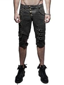 Men Shorts Steampunk Hip-Hop-Pants Streetwear Rock Rave Metal Slim Gothic Heavery