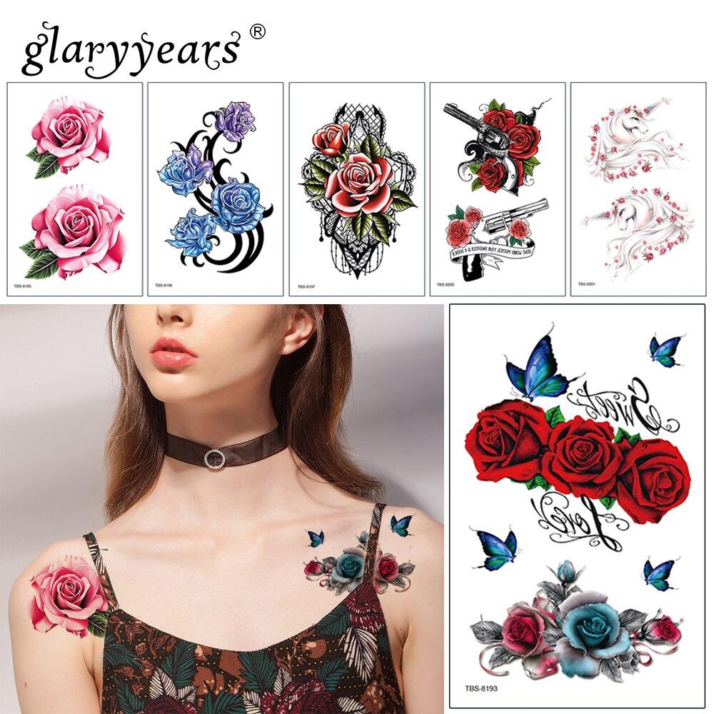 Glaryyears 1 Sheet Beautiful Flower Makeup Temporary Tattoo Sticker Fake Flash Waterproof  Fashion Small Body Art Men Women