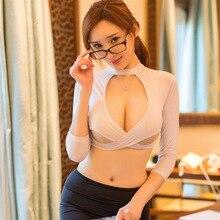 2019 1 Set Women Lingerie Secretary Uniform Cosplay Skirt Costume Panty Role Play DC116 цена