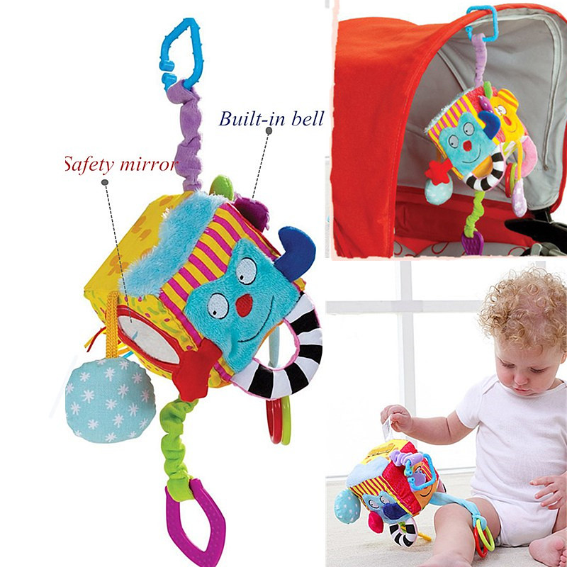 Plush Colorful Cube Baby Rattle Toys Hanging Stroller Crib Baby Toys Cartoon Bed Bell Graphic Cognition Early Educational Toys