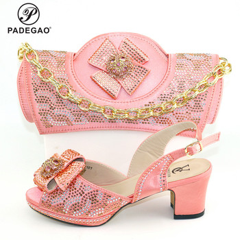 2020 Pink Color Nigerian Design Shoes and Bags To Match Set Italian Women Wedding Shoes and Bags Sets with Shinning Crystal