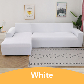 2Pcs Sofa Cover for Living Room Couch Cover Elastic L Shaped Corner Sofas Covers Stretch Chaise Longue Sectional Slipcover - White, 1-seat 90-140cm