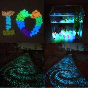 Image 5 - 50/100/300 sztuk świecące w ciemności kamienie świecące kamienie fluorescencyjne jasne kamyki świecące kamienie do akwarium ogród dekoracji