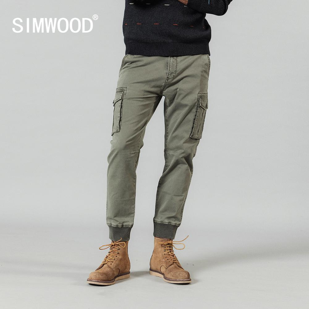 SIMWOOD 2020 Spring New Cargo Pants Men Washed Vintage Streetwear Tactical Pants Pockets Loose Plus Size Ankle-length Trousers