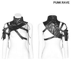 Moda Streetwear Sexy Club fiesta brazo manga Punk cuero sintético mujeres correas para bolso de hombro corsé tapas PUNK RAVE WS-289QTF