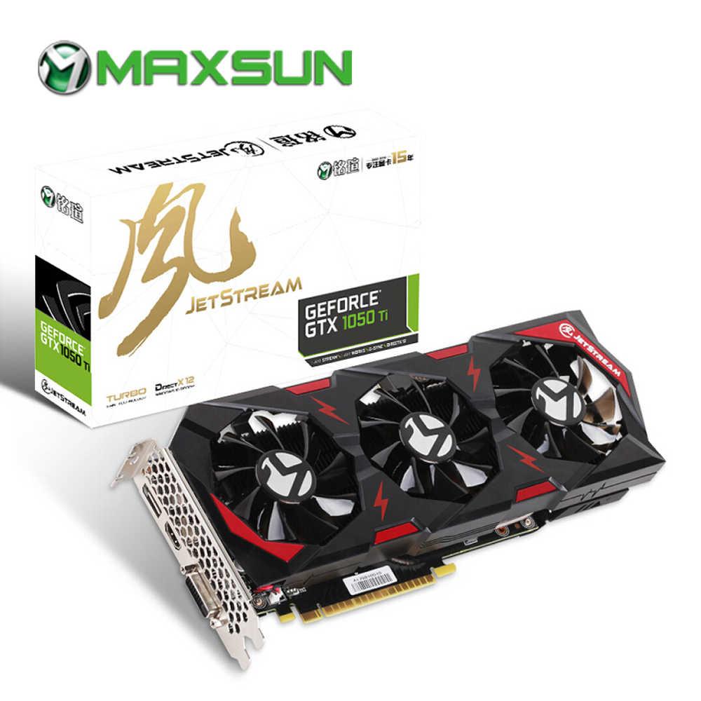 MAXSUN بطاقة الرسومات gtx 1050ti جت ستريم 4G gpu 128bit GDDR5 NVIDIA 7000MHz 1366MHz 768 وحدات DVI gtx1050ti بطاقة الفيديو للألعاب