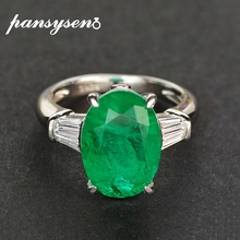 PANSYSEN Luxury 925 Silver Fine Jewelry 10ct Oval 10x14MM Emerald Diamond Ring Wedding Bands Party Birthday Gift Wholesale Rings cheap 925 Sterling Women GDTC Prong Setting Silver emerald diamond ring SP-R066 TRENDY Engagement Solid Silver emerald diamond ring