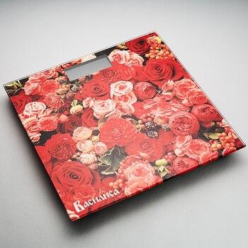 Весы напольные электронные ВАСИЛИСА ВА 4010 Цветы 180 кг, 26*26см