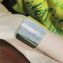 Rhinestone Big Cuff Bangle Bracelet For Women Fashion High Quality Alloy Geometric Costume Statement Bracelet Jewelry pair of trendy geometric rhinestone alloy ear cuff for women