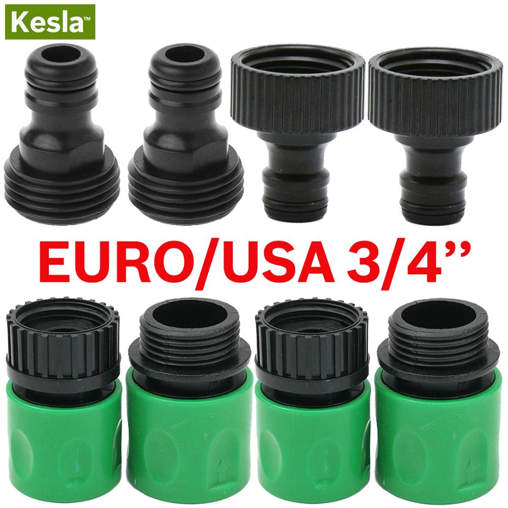KESLA Quick Connector Nipple EURO USA 3/4 Inch Male Threaded Hose Pipe Adapter For Garden Tubing Drip Irrigation Watering System