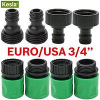 Kesla conector rápido mamilo euro eua 3/4 Polegada macho rosqueado tubo de mangueira adaptador para jardim tubulação irrigação por gotejamento sistema rega|Conectores de água p/ jardim|Casa e Jardim -