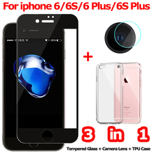 3-in-1 Tempered Glass for iPhone 6S Plus Camera Glass for iPhone6 S 6S Screen Protector Film for iPhone 6 S Plus Glass цены