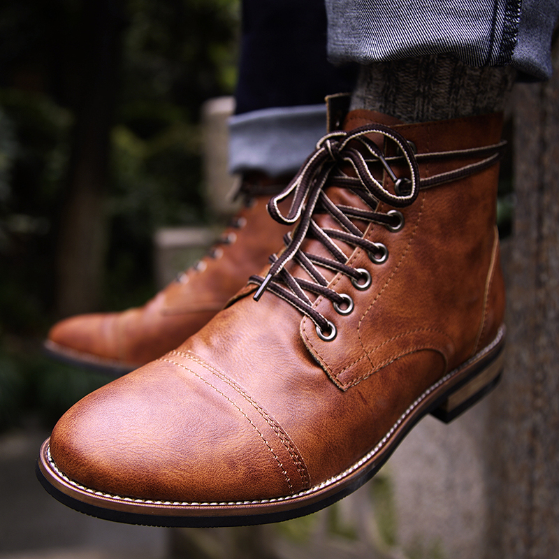 Natural Pu Leather  Lace-up  Men Shoes High Quality Men Vintage British Military Boots Autumn Winter Plus Size