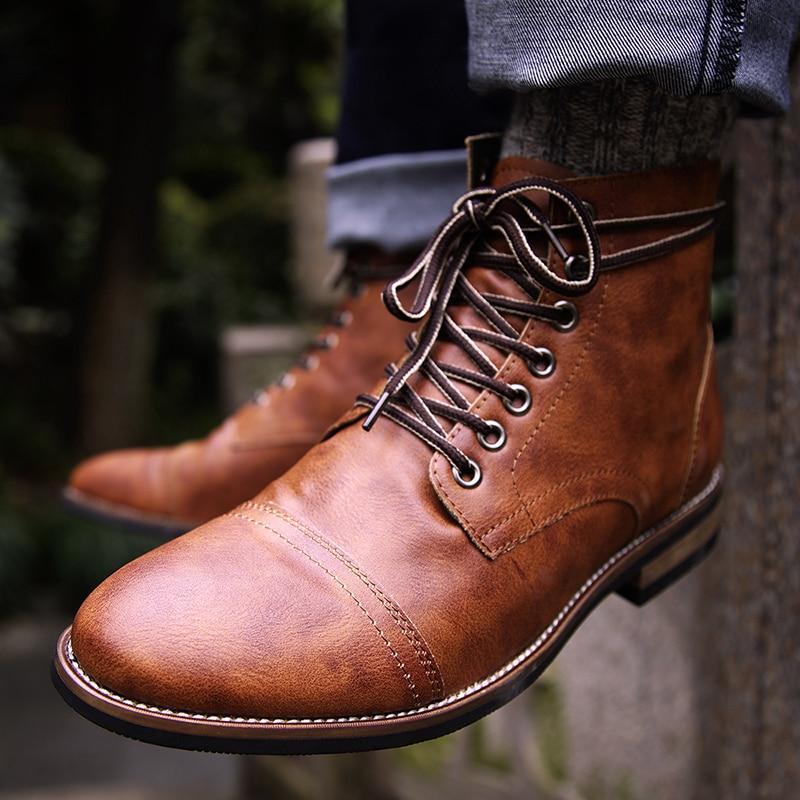 Natural Pu Leather  Lace-up  Men Shoes High Quality Men Vintage British Military Boots Autumn Winter Plus Size