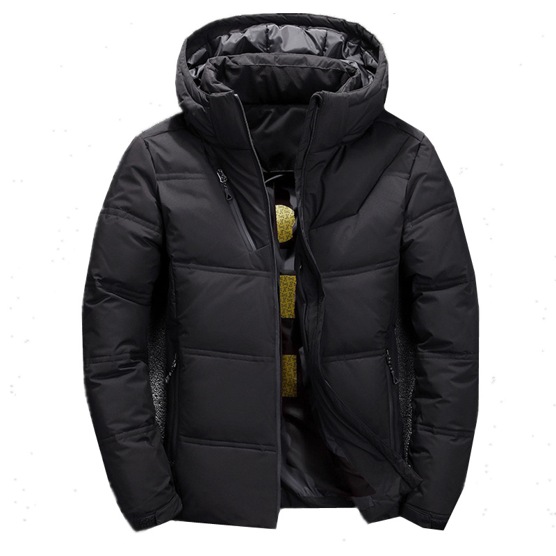 FOJAGANTO Fashion Brand Men Solid Down Jacket Winter New Men's Casual Hooded Down Coats Thick Warm Down Jackets Male