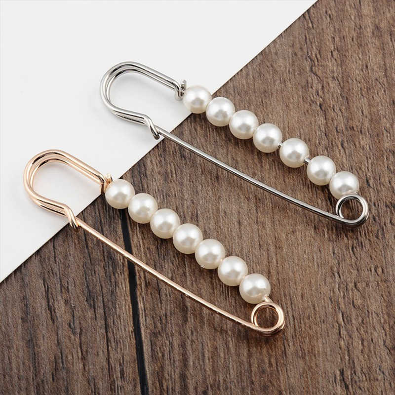 Beads Safety Pins Vintage Fashion Simulated Pearl Brooch Pin Jewelry Ornaments for Scarf Coat Bag Garment Decoration Accessories