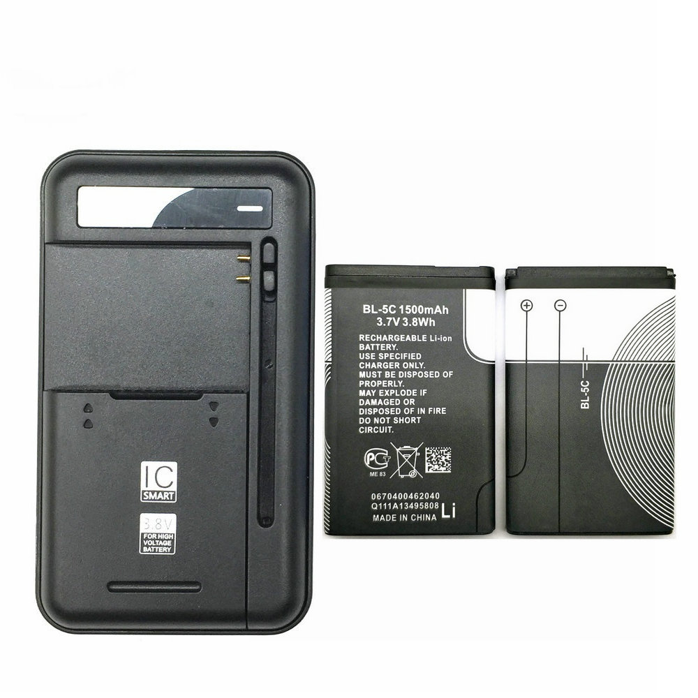 1PCS Universal battery Charger + 2PCS 1500mAH BL-5C BL5C BL 5C Battery For <font><b>Nokia</b></font> 1112 <font><b>1208</b></font> 1600 2610 2600 n70 n71 image