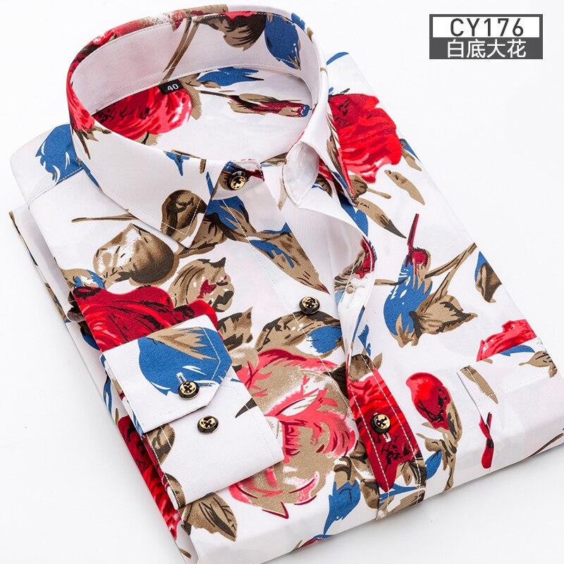 Men Shirt Long Sleeve Floral Printing Plaid Fashion Pocket Casual Shirts 100% Polyester Soft Comfortable Men Dress Shirt DS375 16