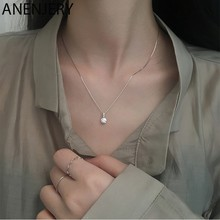 ANENJERY – collier en argent Sterling 925 pour femmes, chaîne de clavicule Simple, goutte géométrique en Zircon, cadeaux