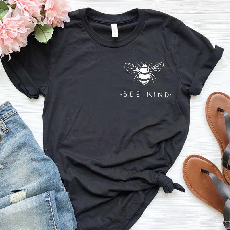 Arı tür cep baskı kadın Tshirt tasarrufu arılar grafik T-shirt estetik saf pamuklu gömlek kız Ulzzang Tees yaz üstleri damla gemi