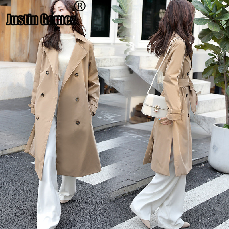 Loose Winter Woman Coat Double-breasted Khaki Simple Classic Autumn Women   Trench   Coat High Quality Outerwear Clothes for Lady