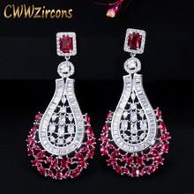 CWWZircons 70mm lüks bildirimi büyük Dangle bırak gül kırmızı CZ küpe Vintage düğün gelin parti kostüm takı CZ664