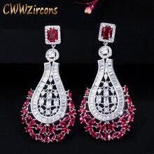 Cwwzircons 70mm declaração de luxo grande balançar gota rosa vermelho cz brincos do vintage casamento nupcial festa traje jóias cz664