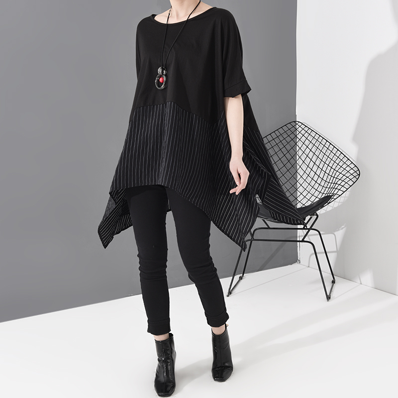 [EAM] Women Black Striped Asymmetrical Big Size T-shirt New Round Neck Short Sleeve  Fashion Tide  Spring Summer 2020 JS953 3