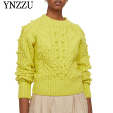YNZZU 2019 Autumn Winter High quality Wool Women sweater O-neck Loose Decorative pompoms raglan sleeves Knit Pullover tops YT679 army green lace up knit long raglan sleeves sweater