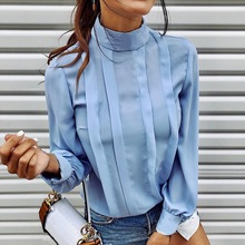 OEAK 2019 Autumn Solid Button Blouse Shirts Women Sexy O-neck Long Sleeve Blusa Tops Elegant Office Work Blouses Female